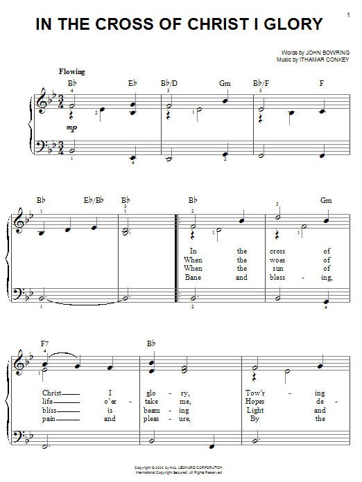 John Bowring In The Cross Of Christ I Glory sheet music notes and chords. Download Printable PDF.