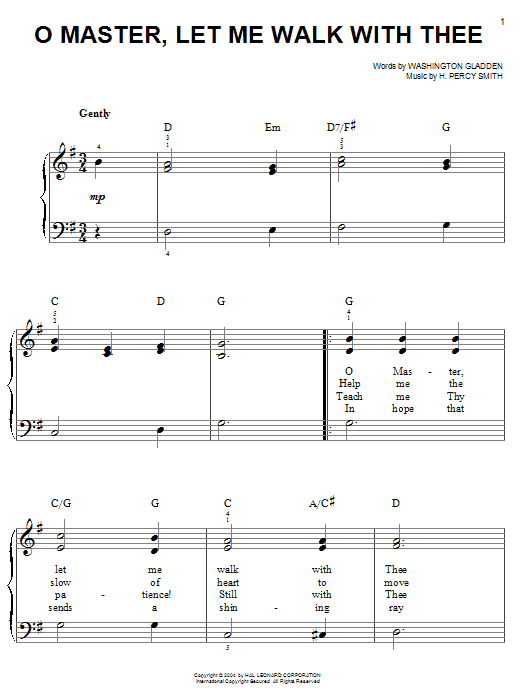 Washington Gladden O Master, Let Me Walk With Thee sheet music notes and chords. Download Printable PDF.