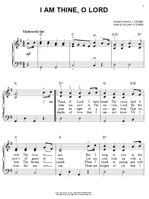 Fanny J. Crosby I Am Thine, O Lord sheet music notes and chords. Download Printable PDF.