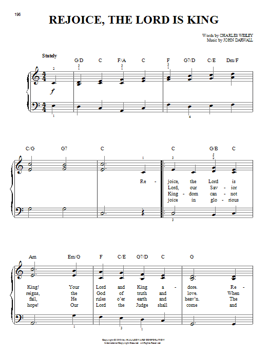 Charles Wesley Rejoice, The Lord Is King sheet music notes and chords. Download Printable PDF.
