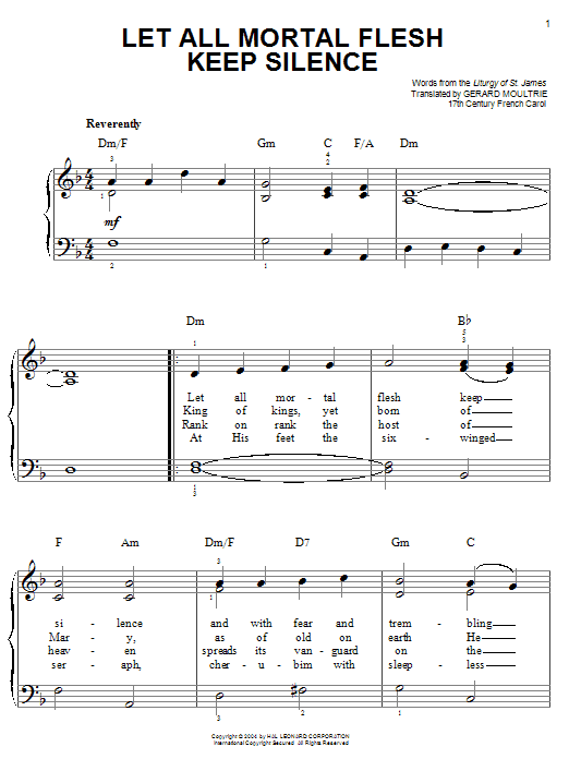 Traditional Carol Let All Mortal Flesh Keep Silence sheet music notes and chords. Download Printable PDF.