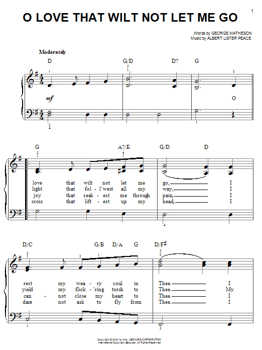 George Matheson O Love That Wilt Not Let Me Go sheet music notes and chords. Download Printable PDF.