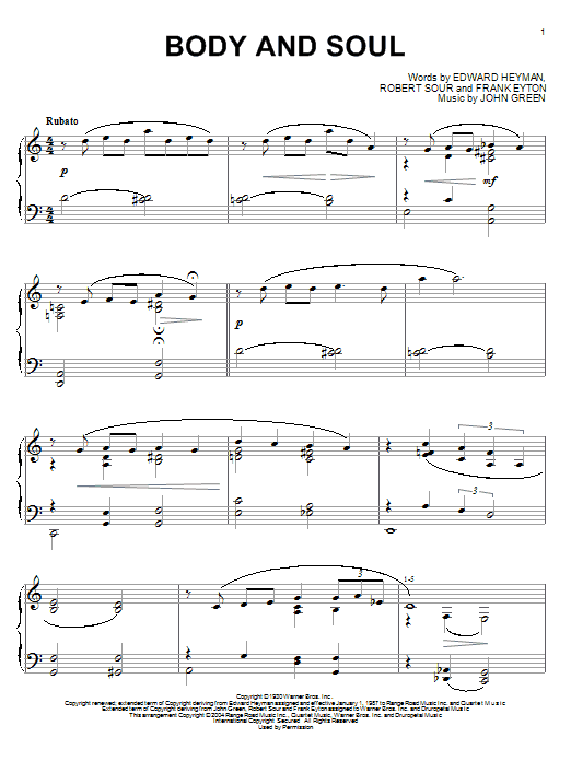 Edward Heyman Body And Soul sheet music notes and chords. Download Printable PDF.