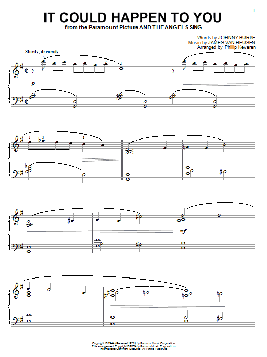 Frank Sinatra It Could Happen To You sheet music notes and chords. Download Printable PDF.