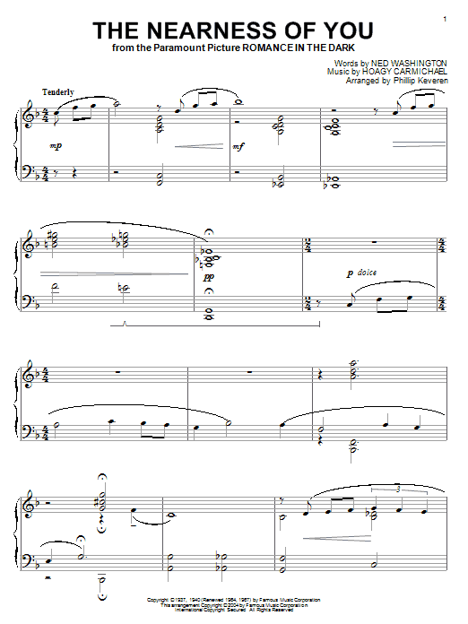Hoagy Carmichael The Nearness Of You sheet music notes and chords. Download Printable PDF.