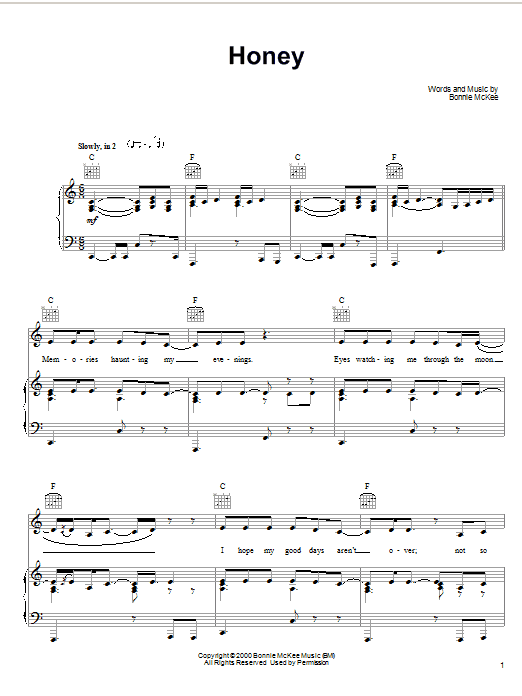 Bonnie McKee Honey sheet music notes and chords. Download Printable PDF.