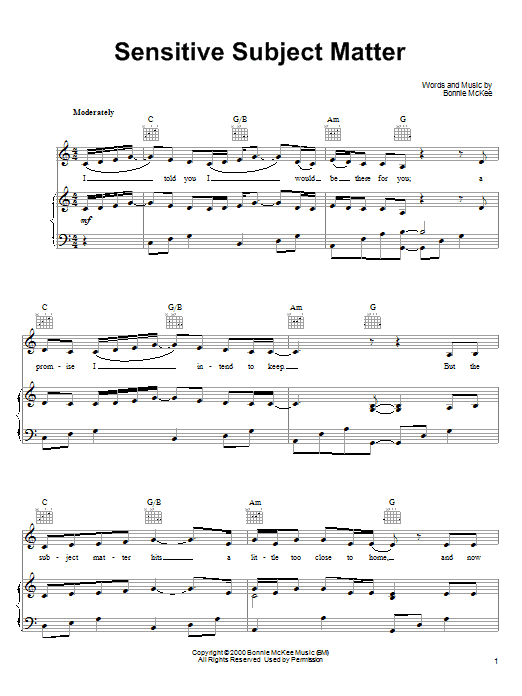 Bonnie McKee Sensitive Subject Matter sheet music notes and chords. Download Printable PDF.