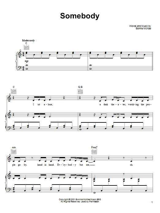 Bonnie McKee Somebody sheet music notes and chords. Download Printable PDF.