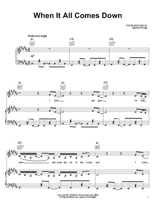 Bonnie McKee When It All Comes Down sheet music notes and chords. Download Printable PDF.