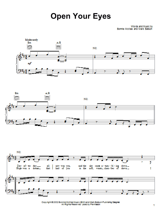 Bonnie McKee Open Your Eyes sheet music notes and chords. Download Printable PDF.