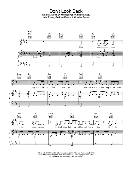 Lucie Silvas Don't Look Back sheet music notes and chords. Download Printable PDF.