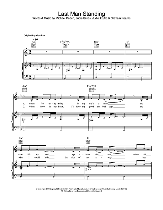 Lucie Silvas Last Man Standing sheet music notes and chords. Download Printable PDF.