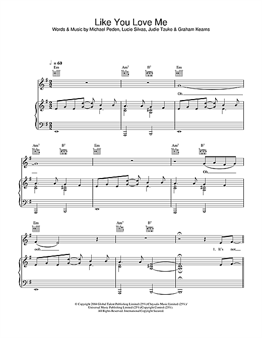 Lucie Silvas Like You Love Me sheet music notes and chords. Download Printable PDF.
