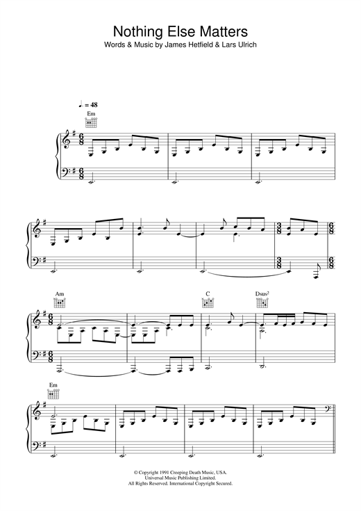 Lucie Silvas Nothing Else Matters sheet music notes and chords. Download Printable PDF.