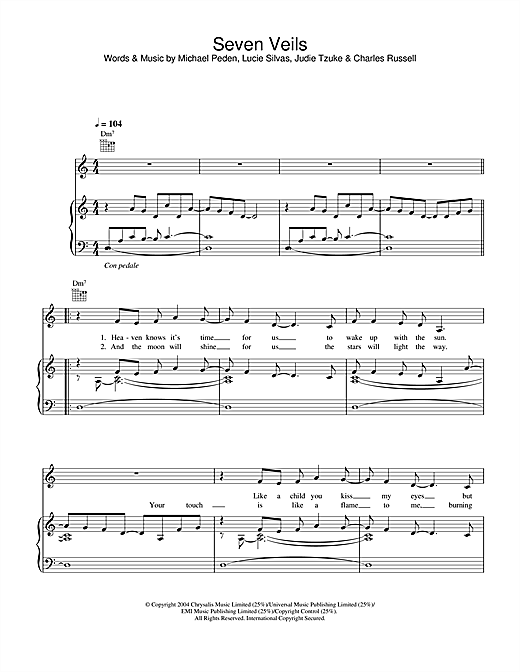 Lucie Silvas Seven Veils sheet music notes and chords. Download Printable PDF.