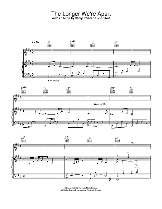 Lucie Silvas The Longer We're Apart sheet music notes and chords. Download Printable PDF.