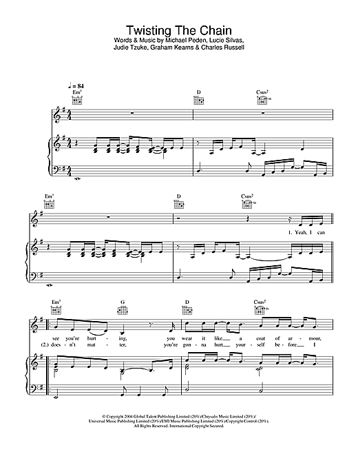 Lucie Silvas Twisting The Chain sheet music notes and chords. Download Printable PDF.