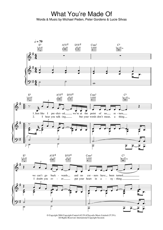 Lucie Silvas What You're Made Of sheet music notes and chords. Download Printable PDF.