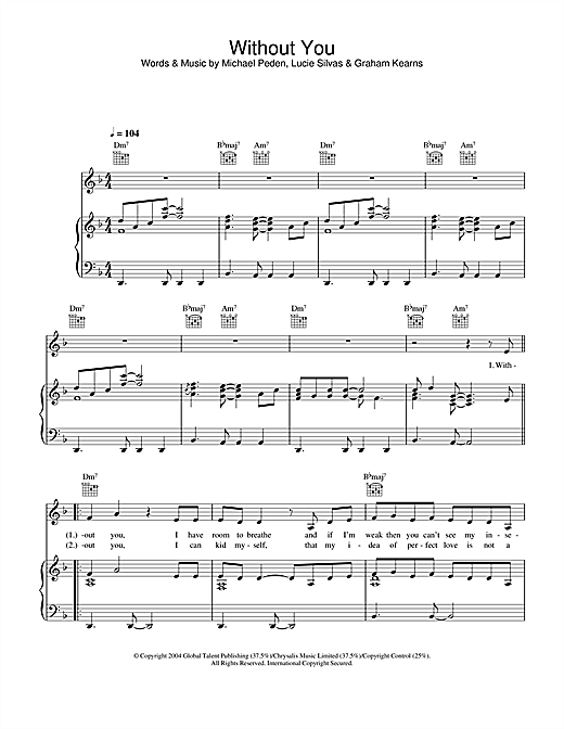 Lucie Silvas Without You sheet music notes and chords. Download Printable PDF.