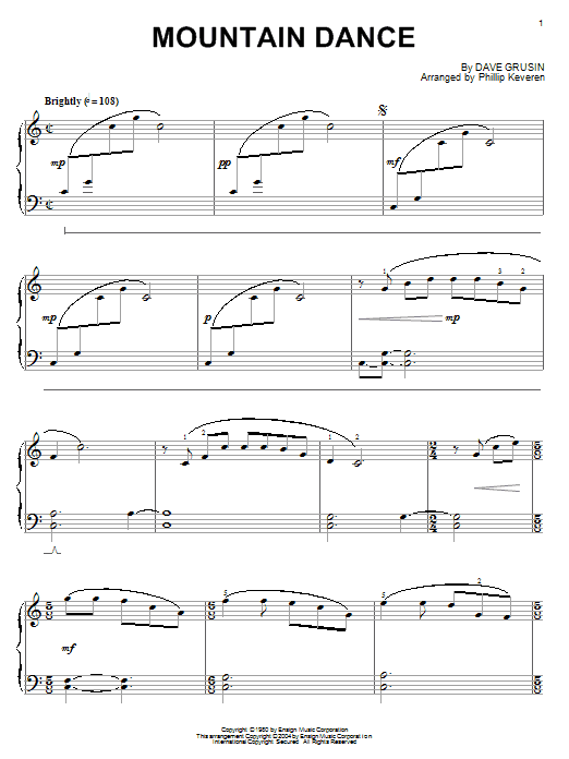 Dave Grusin Mountain Dance sheet music notes and chords. Download Printable PDF.