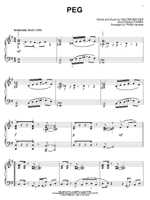 Steely Dan Peg sheet music notes and chords. Download Printable PDF.