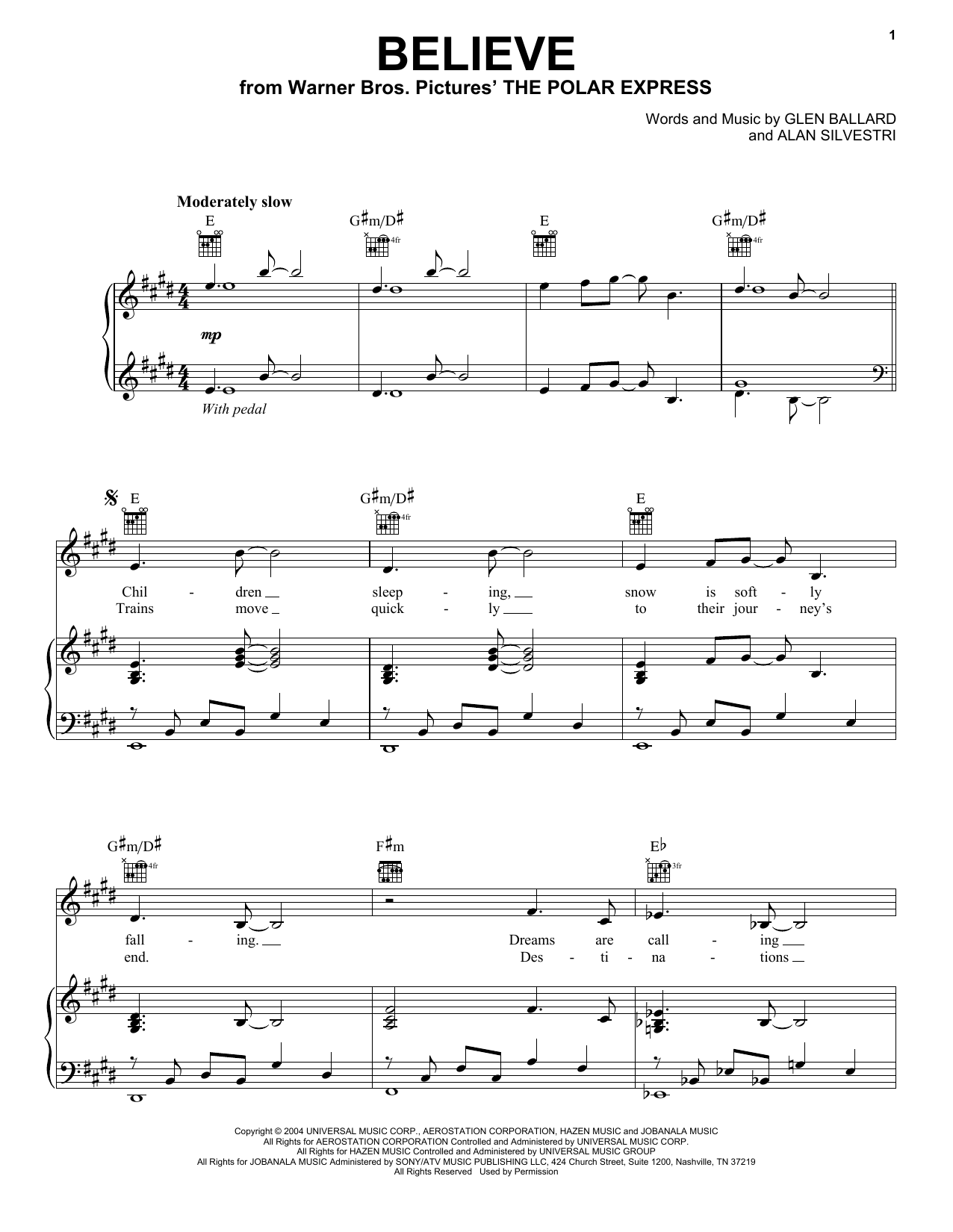 Josh Groban Believe sheet music notes and chords. Download Printable PDF.