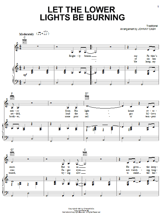 Johnny Cash Let The Lower Lights Be Burning sheet music notes and chords. Download Printable PDF.