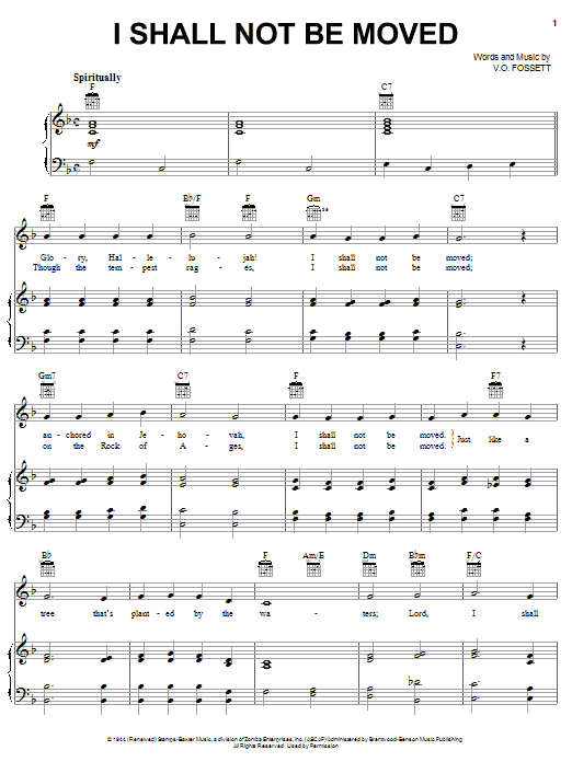 Johnny Cash I Shall Not Be Moved sheet music notes and chords. Download Printable PDF.