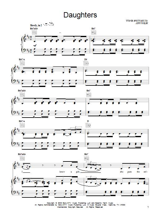 John Mayer Daughters sheet music notes and chords. Download Printable PDF.