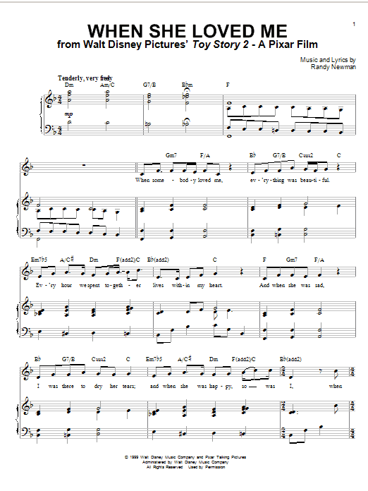 Sarah McLachlan When She Loved Me sheet music notes and chords. Download Printable PDF.