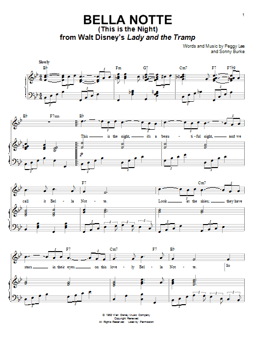 Peggy Lee Bella Notte (This Is The Night) sheet music notes and chords. Download Printable PDF.