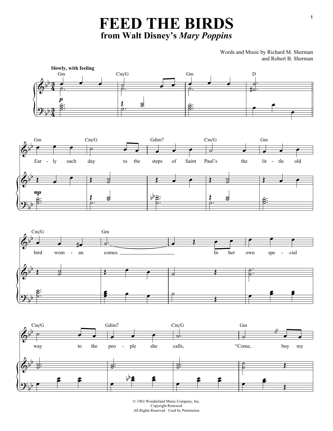 Sherman Brothers Feed The Birds sheet music notes and chords. Download Printable PDF.