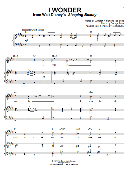 Mary Costa I Wonder (from Sleeping Beauty) sheet music notes and chords. Download Printable PDF.