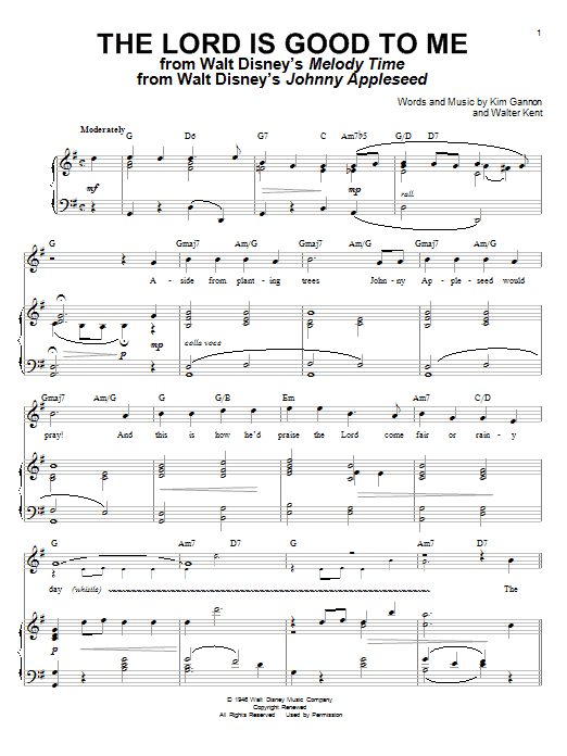 Kim Gannon The Lord Is Good To Me sheet music notes and chords. Download Printable PDF.