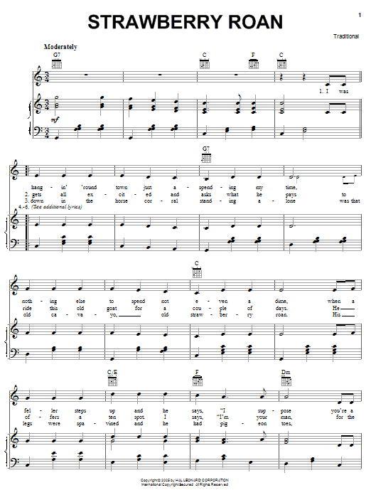 Traditional Strawberry Roan sheet music notes and chords. Download Printable PDF.