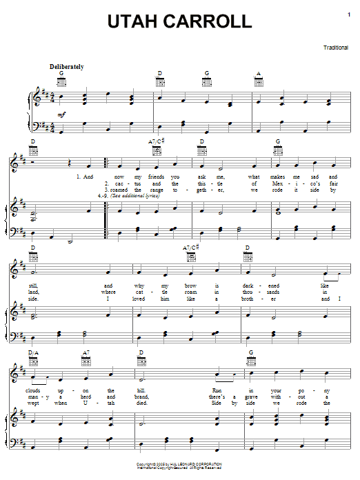 Traditional Utah Carroll sheet music notes and chords. Download Printable PDF.