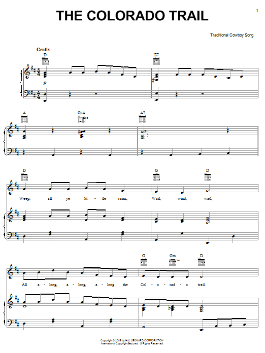 American Cowboy Song The Colorado Trail sheet music notes and chords. Download Printable PDF.