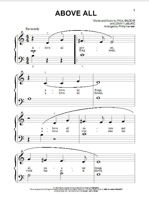 Paul Baloche Above All sheet music notes and chords. Download Printable PDF.