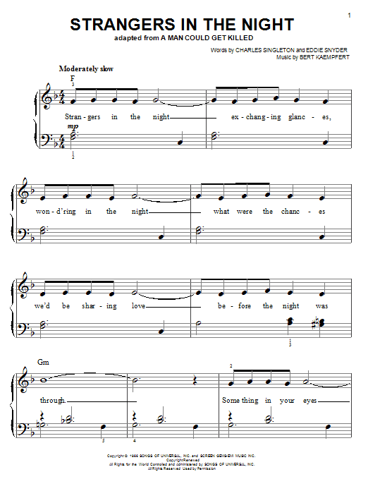 Frank Sinatra Strangers In The Night sheet music notes and chords. Download Printable PDF.