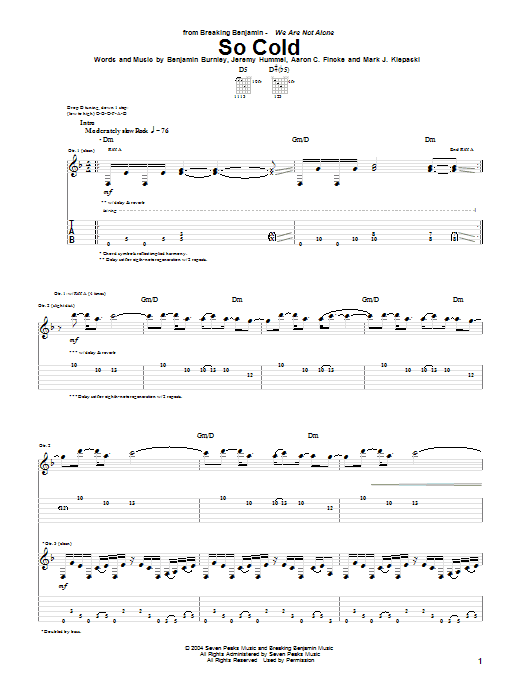 Breaking Benjamin So Cold sheet music notes and chords. Download Printable PDF.