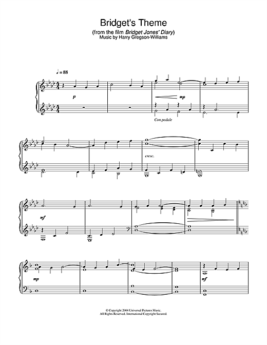 Harry Gregson-Williams Bridget's Theme (from Bridget Jones's Diary) sheet music notes and chords. Download Printable PDF.
