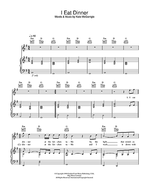 Rufus Wainwright & Dido I Eat Dinner (from Bridget Jones: The Edge Of Reason) sheet music notes and chords. Download Printable PDF.