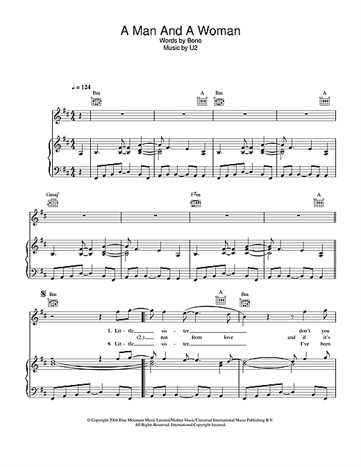 U2 A Man And A Woman sheet music notes and chords. Download Printable PDF.