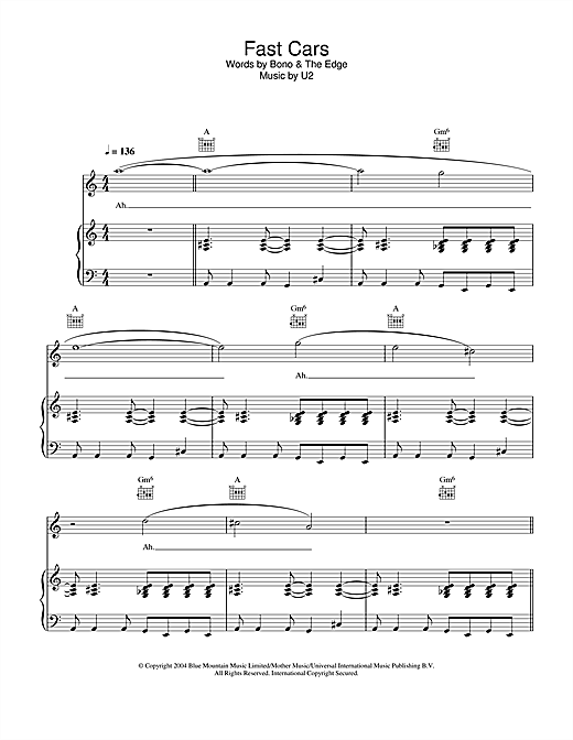 U2 Fast Cars sheet music notes and chords. Download Printable PDF.