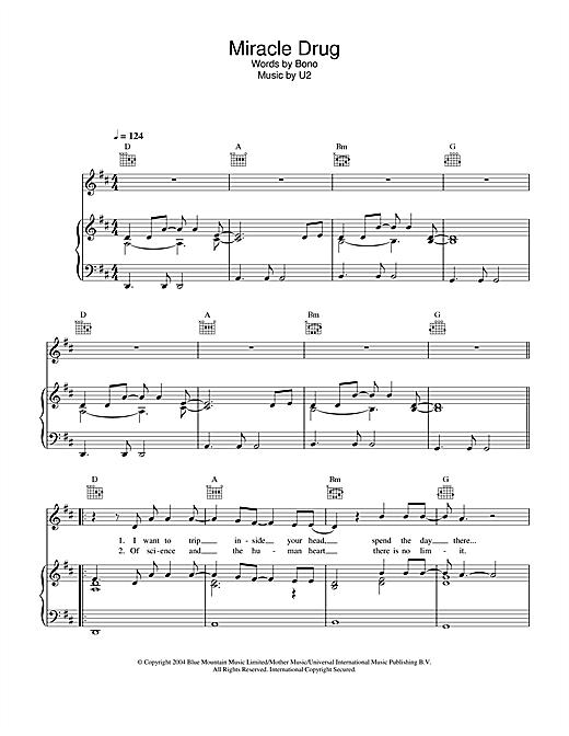 U2 Miracle Drug sheet music notes and chords. Download Printable PDF.