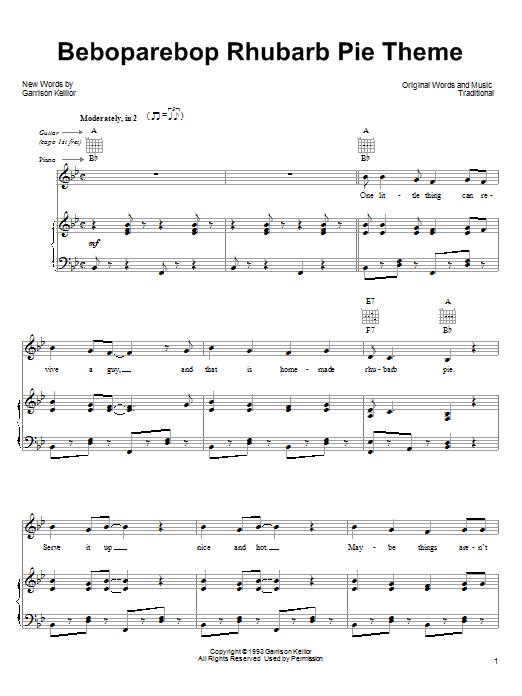 Garrison Keillor Beboparebop Rhubarb Pie Theme sheet music notes and chords. Download Printable PDF.