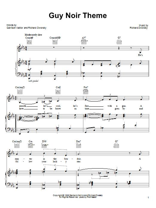 Garrison Keillor Guy Noir Theme sheet music notes and chords. Download Printable PDF.