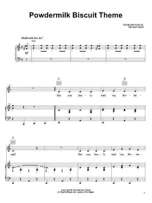 Garrison Keillor Powdermilk Biscuit Theme sheet music notes and chords. Download Printable PDF.