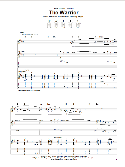 Scandal The Warrior sheet music notes and chords. Download Printable PDF.