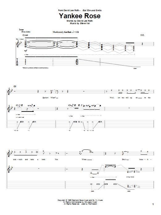 David Lee Roth Yankee Rose sheet music notes and chords. Download Printable PDF.